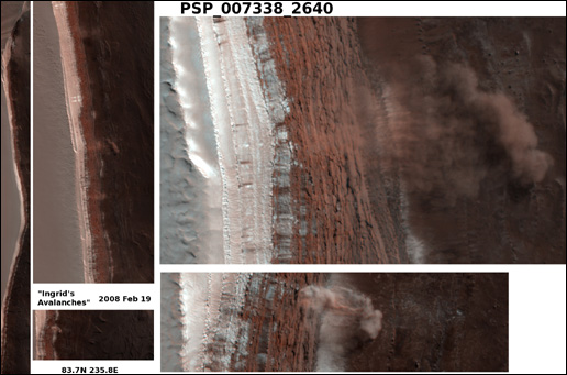 Avalanches in the north polar region on Mars